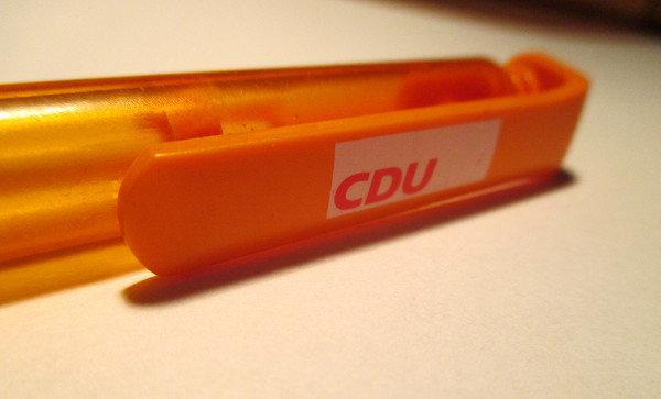 CDU-Kugelschreiber in Nahaufnahme