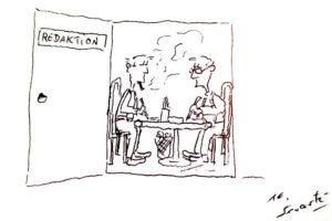 Redaktionsraum im Heizungskeller | Zeichnung: Sesastre