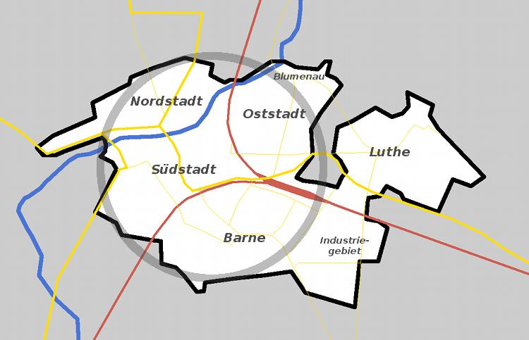 Wunstorf (Kernstadt) mit direkt angrenzenden Ortsteilen | Graphik: Auepost
