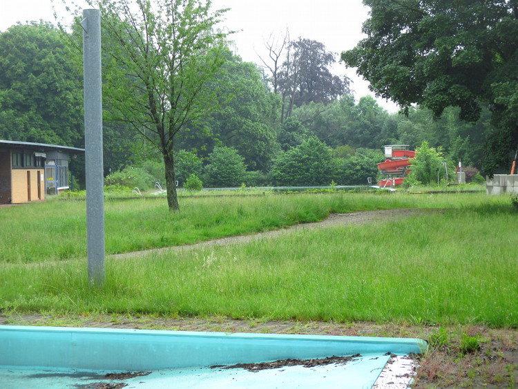 Mehr Gras als Wasser auf dem Gelände