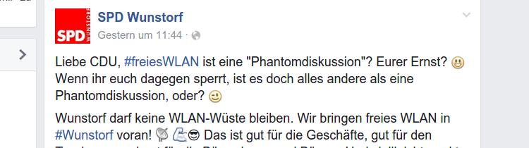 Facebooknachricht der SPD Wunstorf | Screenshot: Auepost