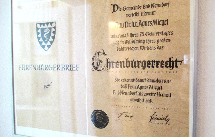 Miegels Ehrenbürger-Urkunde | Foto: Daniel Schneider