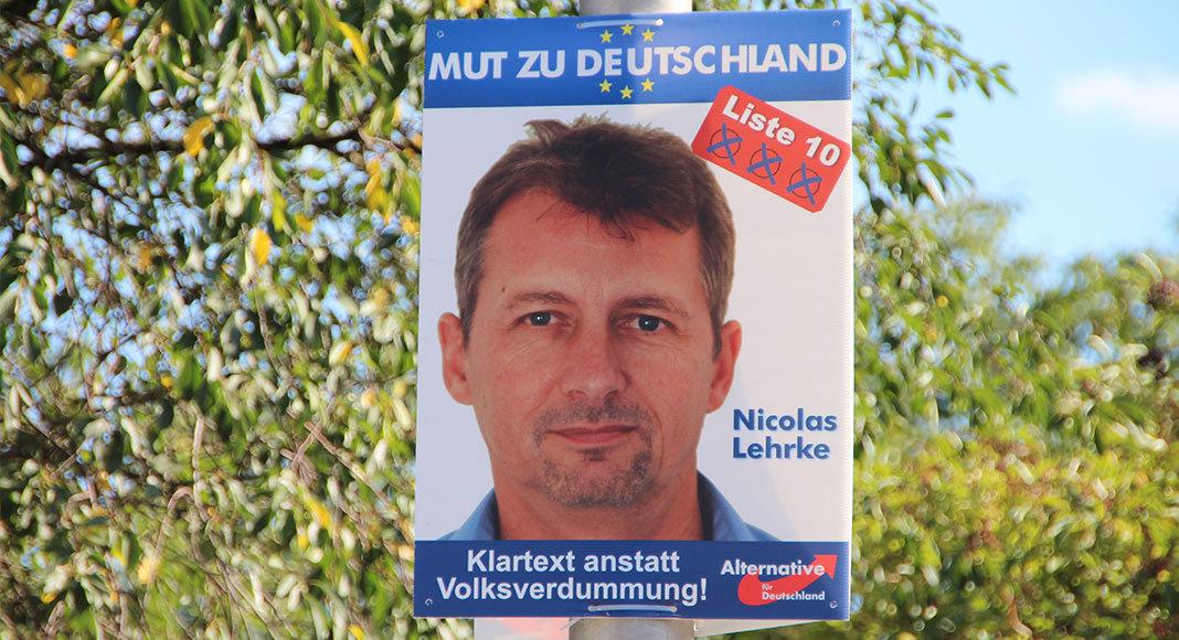 Nicolas Lehrke auf einem Wahlplakat der AfD | Foto: Mirko Baschetti
