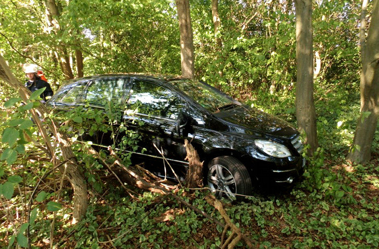 Festgefahrener Mercedes im Gehölz | Foto: Karl-Heinz Girod