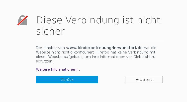 Webbrowser lassen eine Verbindung nicht zu, wenn man das HTTPS für die Domain zu erzwingen versucht | Screenshot: Auepost.de