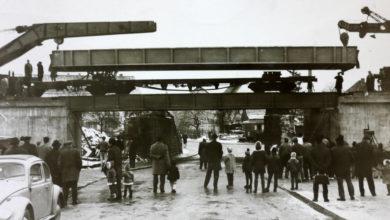 Bild von Eisenbahnträger für die neue Eisenbahnbrücke