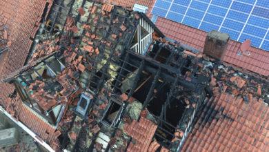 Bild von Feuer im Fachwerkhaus