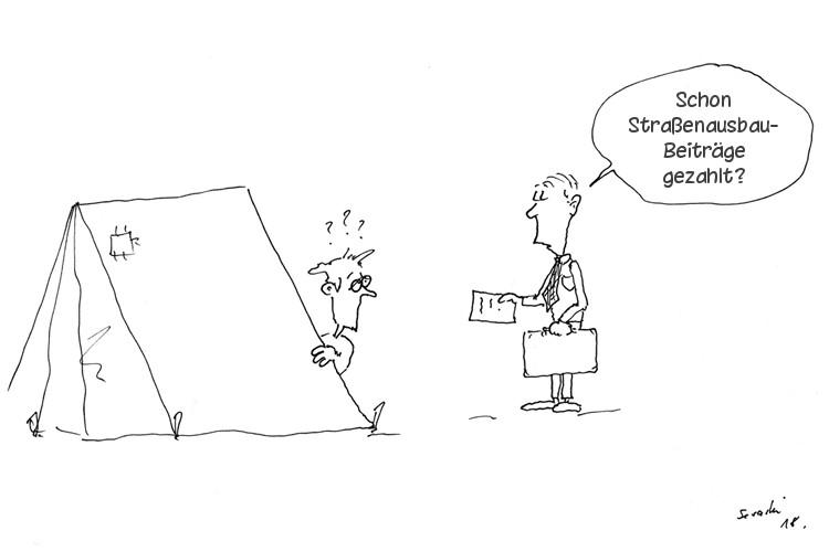 Karikatur Straßenbaugebühren