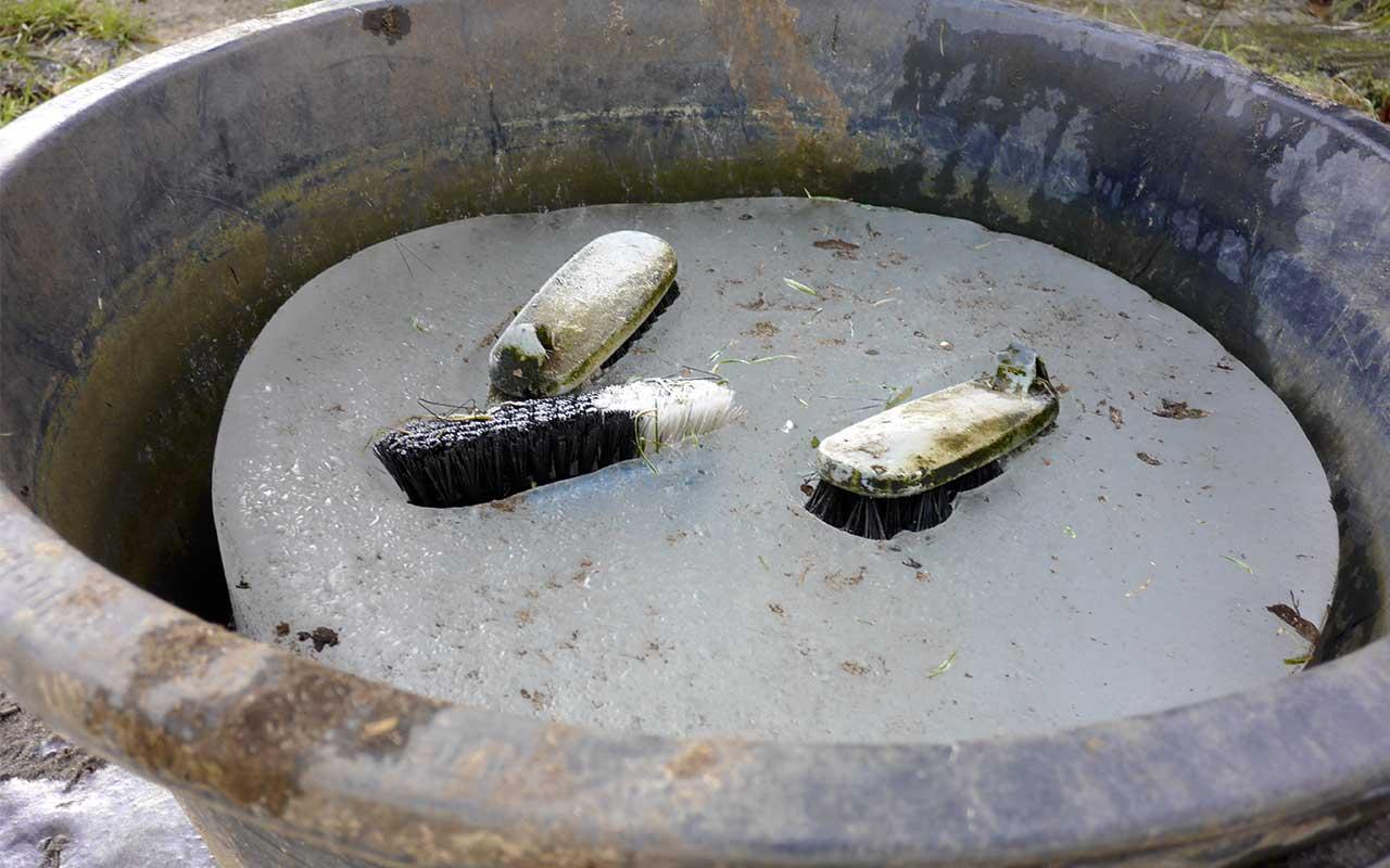 Schuhputz-Bürsten im gefrorenen Eimer