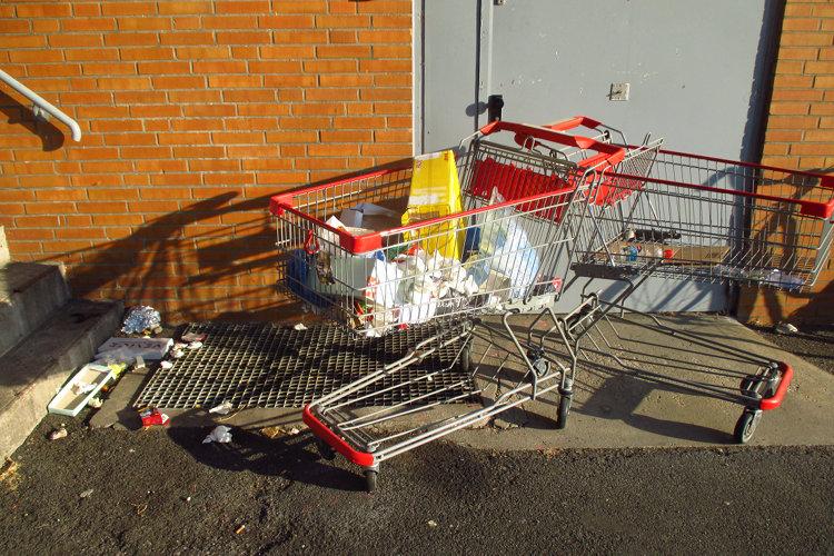 Einkaufswagen und Müll
