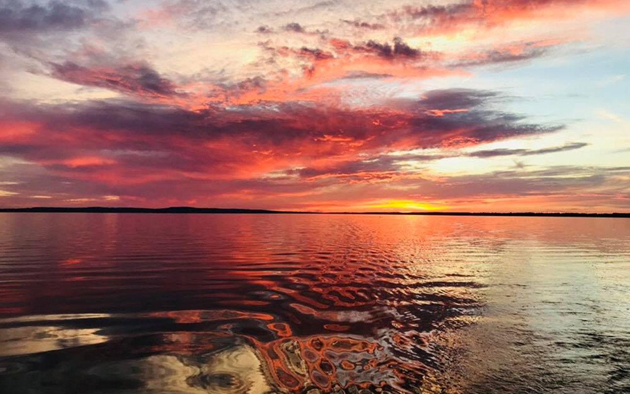 Großenheidorner Strand Sonnenuntergang