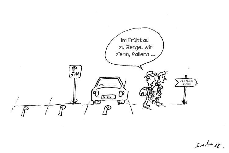 Wanderer starten von Parkplatz