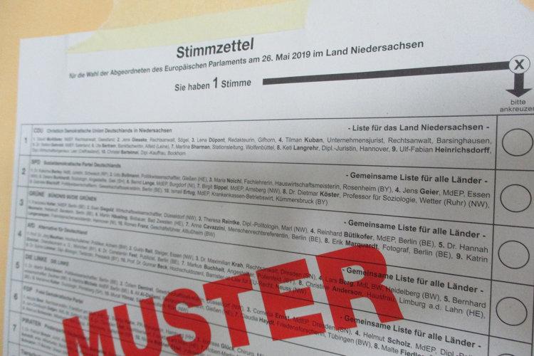 Musterstimmzettel zur Europawahl in Wunstorf