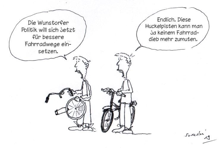 Fahrradfahrer mit geklautem Rad