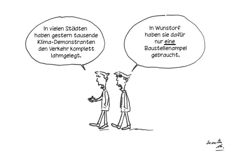 Baustellenampel-Karikatur
