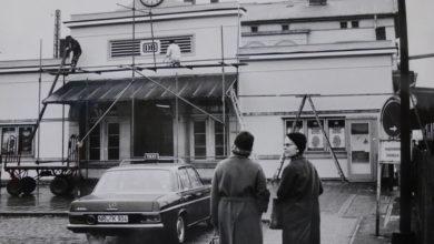Bild von Renovierungsarbeiten am Wunstorfer Bahnhofsgebäude in den 1960er Jahren