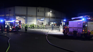 Bild von Großeinsatz der Feuerwehr in Papierverarbeitungshalle