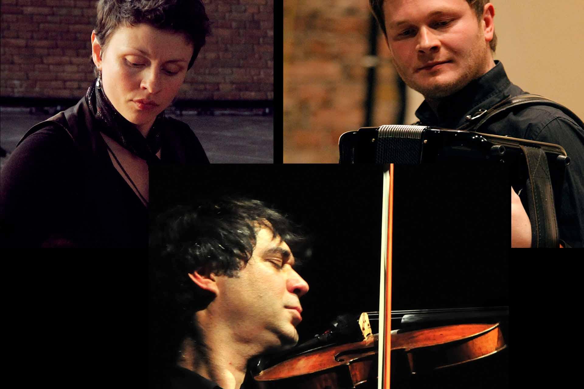 Elena Chekanova (Live Elektronik, Klavier), Robert Kusiolek (Akkordeon) und Anton Sjarov (Violine, Klangobjekte) spielen gemeinsam in der Stadtkirche